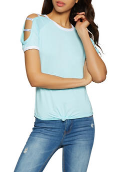 Caged Cold Shoulder Tee - Blue - Size L - 1056038347422