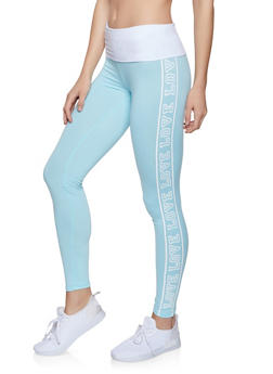 Love Graphic Leggings - Blue - Size L - 1056038347423