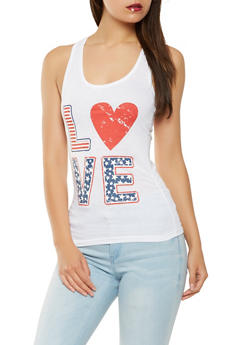 Love Graphic Americana Tank Top - WHITE - 1056038347520