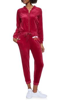 New York Love Graphic Velour Jumpsuit - 1056038347870