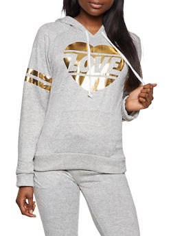 Love Graphic Two Stripe Hooded Sweatshirt - 1056038347890