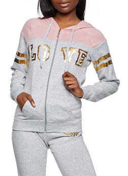 Love Graphic Color Block Zip Sweatshirt - 1056038347910