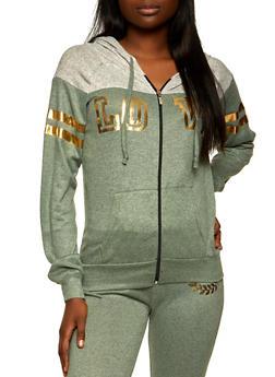 Love Graphic Color Block Zip Sweatshirt - 1056038347910