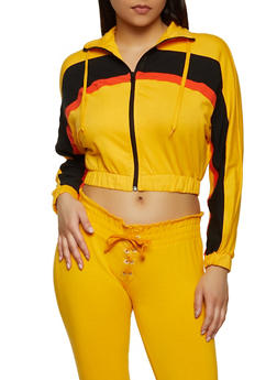 Color Block Detail Cropped Track Jacket - 1056038348052