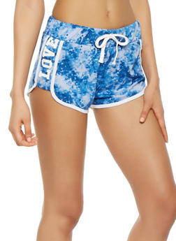 Love Graphic Printed Dolphin Shorts - 1056038348501