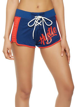 Graphic Lace Up Dolphin Shorts - 1056038348504