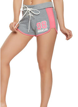 Brooklyn Graphic Lace Up Active Shorts - 1056038348515