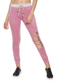 Love Foil Graphic Sweatpants - 1056038348621