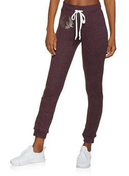 Foil Love Graphic Brushed Knit Joggers - 1056038348651
