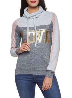 Love Color Block Knit Sweatshirt - 1056038348680