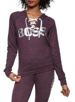 Boss Graphic Lace Up Sweatshirt - 1056038348690