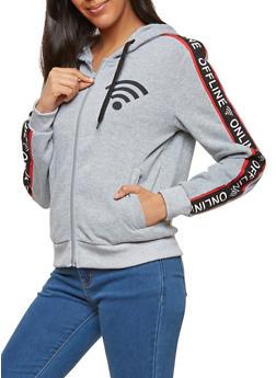 Online Offline Graphic Zip Front Sweatshirt - 1056051060048