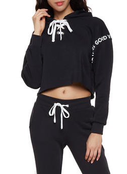 Good Vibes Graphic Lace Up Sweatshirt - 1056051060075