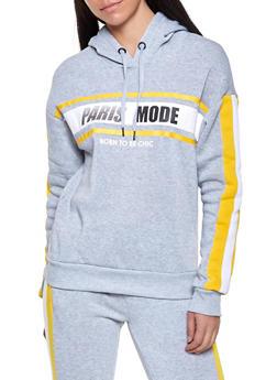 Paris Mode Graphic Hooded Sweatshirt - 1056051060093