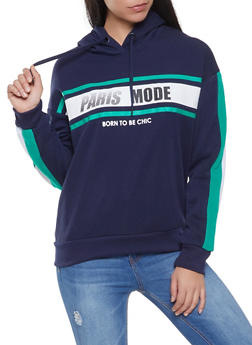 Paris Mode Graphic Hooded Sweatshirt - 1056051060093