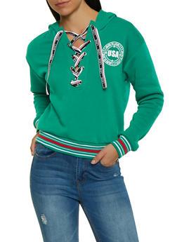 Graphic Ribbon Lace Up Sweatshirt - 1056051060740