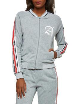 Zip Front Graphic Side Stripe Sweatshirt - 1056051066343