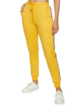 Striped Tape Solid Joggers - 1056054267101
