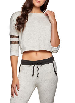 Fishnet Insert Cropped Sweatshirt - 1056054267889