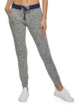 Marled Contrast Trim Joggers - 1056054268803