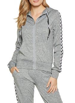 Checkered Tape Trim Activewear Sweatshirt - 1056056725010