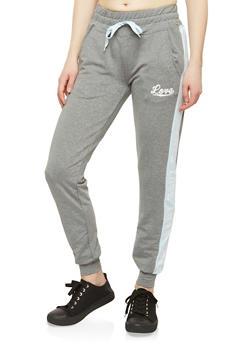 Love Graphic Drawstring Waist Sweatpants - 1056072291192