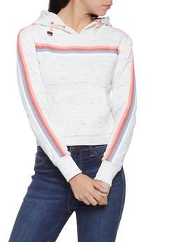 Striped Tape Hooded Sweatshirt - 1056072292042