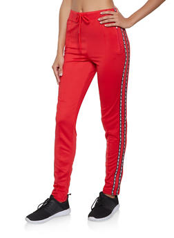 Love Graphic Tape Trim Track Pants - 1056072292810