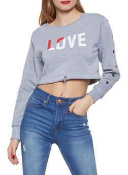 Cropped Love Graphic Sweatshirt - 1056072292860