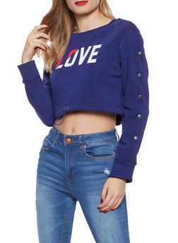 Cropped Love Graphic Sweatshirt - 1056072292860