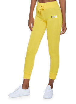 Fleece Lined Love Graphic Joggers - 1056072292871