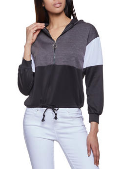 Color Block Half Zip Hooded Sweatshirt - 1056074013790