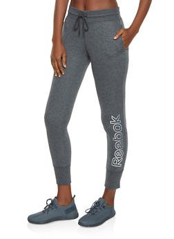 Reebok Fleece Lined Joggers with Drawstring Waist - 1057076043030