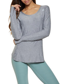 Reebok Long Sleeve Scoop Neck Active Top - 1057076049305