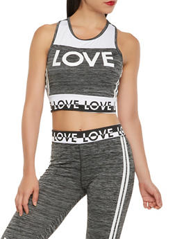 Love Graphic Cropped Active Tank Top - 1058038345550