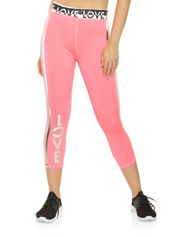Love Graphic Active Capri Leggings - 1058038345551
