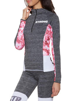 Strong Graphic Color Block Activewear Top - 1058038346020