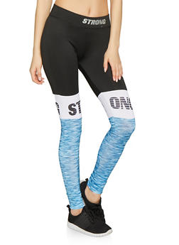 Strong Graphic Color Block Activewear Pants - 1058038346021
