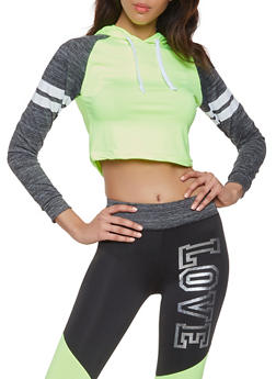 Color Block Hooded Activewear Top - 1058038346040