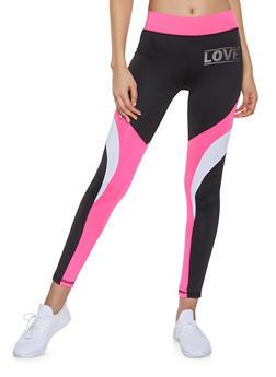 Tri Tone Love Graphic Activewear Leggings - 1058038346071