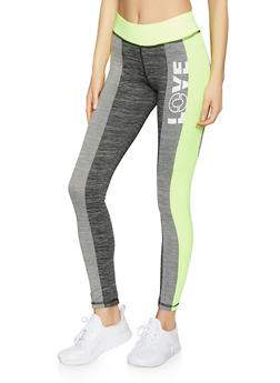 Love Graphic Color Block Activewear Leggings - 1058038346081