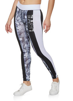 Love Color Block Active Leggings - 1058038346083