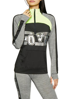 Half Zip Love Graphic Activewear Sweatshirt - 1058038346120