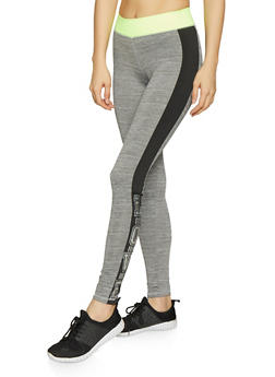 Foil Love Graphic Activewear Leggings - 1058038346121