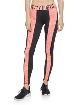 Color Block Pretty Hurts Graphic Leggings - 1058038346131