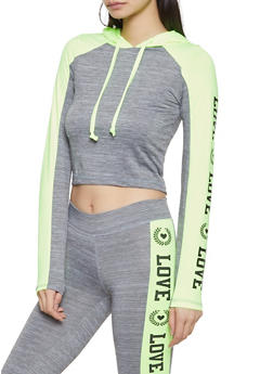Love Graphic Hooded Activewear Top - 1058038346150