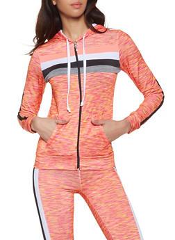 Marled Zip Front Activewear Sweatshirt - 1058038346160