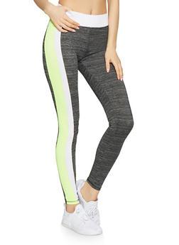 Marled Contrast Trim Activewear Leggings - 1058038346161