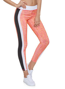Marled Contrast Trim Activewear Leggings - 1058038346161