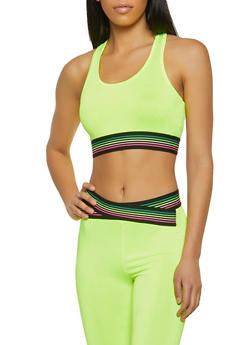 Striped Trim Spandex Sports Bra - 1058038347220